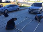 Teamwork to assemble the panels.